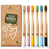 Greenzla Bambus Zahnbürsten für Kinder (6er Pack) | Holzzahnbürsten mit weichen Borsten |...